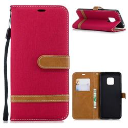 Jeans Cowboy Denim Leather Wallet Case for Huawei Mate 20 Pro - Red