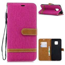 Jeans Cowboy Denim Leather Wallet Case for Huawei Mate 20 Pro - Rose
