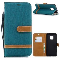 Jeans Cowboy Denim Leather Wallet Case for Huawei Mate 20 Pro - Green