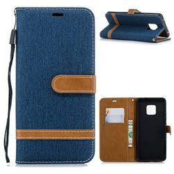Jeans Cowboy Denim Leather Wallet Case for Huawei Mate 20 Pro - Dark Blue