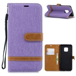 Jeans Cowboy Denim Leather Wallet Case for Huawei Mate 20 Pro - Purple