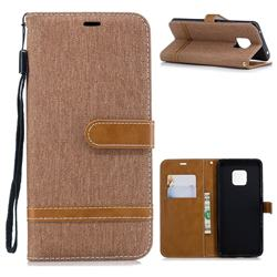 Jeans Cowboy Denim Leather Wallet Case for Huawei Mate 20 Pro - Brown