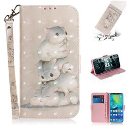 Three Squirrels 3D Painted Leather Wallet Phone Case for Huawei Mate 20 Pro
