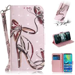 Butterfly High Heels 3D Painted Leather Wallet Phone Case for Huawei Mate 20 Pro