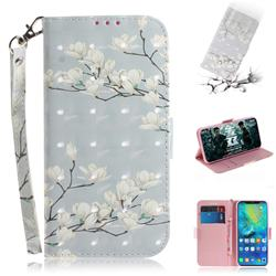 Magnolia Flower 3D Painted Leather Wallet Phone Case for Huawei Mate 20 Pro
