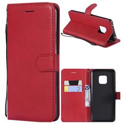 Retro Greek Classic Smooth PU Leather Wallet Phone Case for Huawei Mate 20 Pro - Red