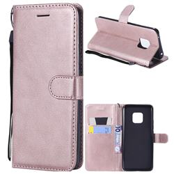Retro Greek Classic Smooth PU Leather Wallet Phone Case for Huawei Mate 20 Pro - Rose Gold