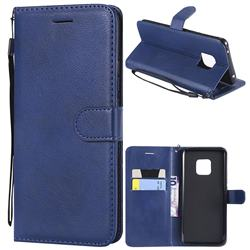 Retro Greek Classic Smooth PU Leather Wallet Phone Case for Huawei Mate 20 Pro - Blue
