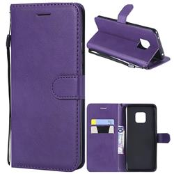 Retro Greek Classic Smooth PU Leather Wallet Phone Case for Huawei Mate 20 Pro - Purple