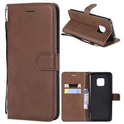 Retro Greek Classic Smooth PU Leather Wallet Phone Case for Huawei Mate 20 Pro - Brown
