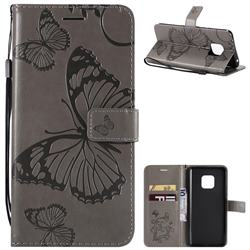 Embossing 3D Butterfly Leather Wallet Case for Huawei Mate 20 Pro - Gray