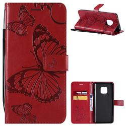 Embossing 3D Butterfly Leather Wallet Case for Huawei Mate 20 Pro - Red