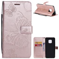Embossing 3D Butterfly Leather Wallet Case for Huawei Mate 20 Pro - Rose Gold