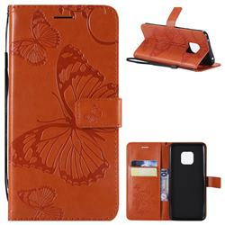 Embossing 3D Butterfly Leather Wallet Case for Huawei Mate 20 Pro - Orange