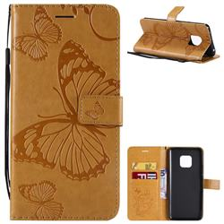 Embossing 3D Butterfly Leather Wallet Case for Huawei Mate 20 Pro - Yellow