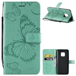 Embossing 3D Butterfly Leather Wallet Case for Huawei Mate 20 Pro - Green