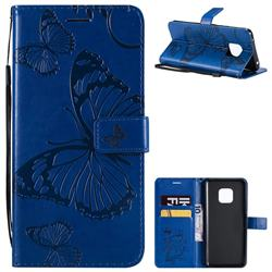 Embossing 3D Butterfly Leather Wallet Case for Huawei Mate 20 Pro - Blue