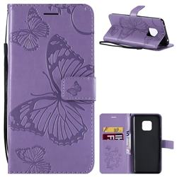 Embossing 3D Butterfly Leather Wallet Case for Huawei Mate 20 Pro - Purple