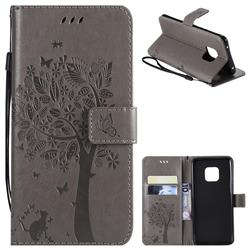 Embossing Butterfly Tree Leather Wallet Case for Huawei Mate 20 Pro - Grey