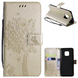 Embossing Butterfly Tree Leather Wallet Case for Huawei Mate 20 Pro - Champagne
