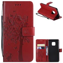 Embossing Butterfly Tree Leather Wallet Case for Huawei Mate 20 Pro - Red