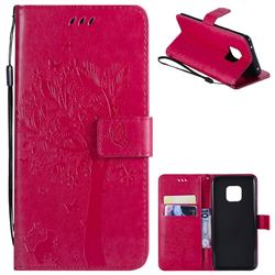 Embossing Butterfly Tree Leather Wallet Case for Huawei Mate 20 Pro - Rose