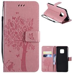 Embossing Butterfly Tree Leather Wallet Case for Huawei Mate 20 Pro - Pink