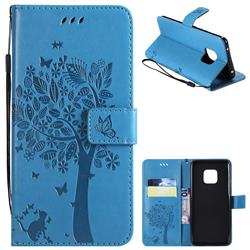 Embossing Butterfly Tree Leather Wallet Case for Huawei Mate 20 Pro - Blue