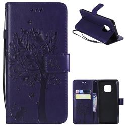 Embossing Butterfly Tree Leather Wallet Case for Huawei Mate 20 Pro - Purple