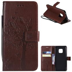 Embossing Butterfly Tree Leather Wallet Case for Huawei Mate 20 Pro - Coffee