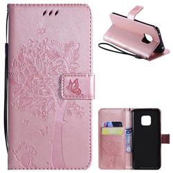 Embossing Butterfly Tree Leather Wallet Case for Huawei Mate 20 Pro - Rose Pink