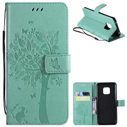 Embossing Butterfly Tree Leather Wallet Case for Huawei Mate 20 Pro - Cyan