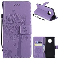 Embossing Butterfly Tree Leather Wallet Case for Huawei Mate 20 Pro - Violet