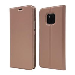 Ultra Slim Card Magnetic Automatic Suction Leather Wallet Case for Huawei Mate 20 Pro - Rose Gold