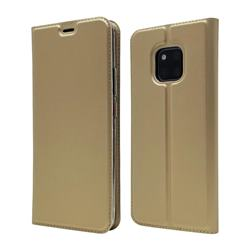 Ultra Slim Card Magnetic Automatic Suction Leather Wallet Case for Huawei Mate 20 Pro - Champagne