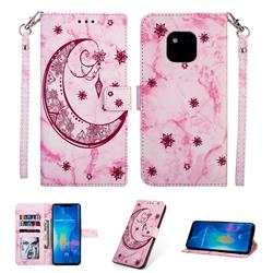 Moon Flower Marble Leather Wallet Phone Case for Huawei Mate 20 Pro - Rose