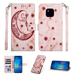 Moon Flower Marble Leather Wallet Phone Case for Huawei Mate 20 Pro - Pink
