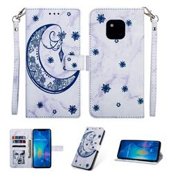 Moon Flower Marble Leather Wallet Phone Case for Huawei Mate 20 Pro - Blue
