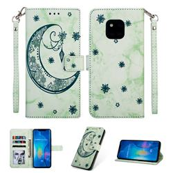 Moon Flower Marble Leather Wallet Phone Case for Huawei Mate 20 Pro - Green