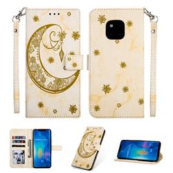 Moon Flower Marble Leather Wallet Phone Case for Huawei Mate 20 Pro - Yellow