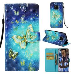 Gold Butterfly 3D Painted Leather Wallet Case for Huawei Mate 20 Pro