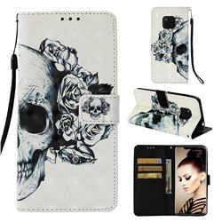 Skull Flower 3D Painted Leather Wallet Case for Huawei Mate 20 Pro