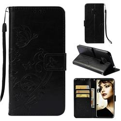 Embossing Butterfly Flower Leather Wallet Case for Huawei Mate 20 Pro - Black