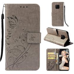 Embossing Butterfly Flower Leather Wallet Case for Huawei Mate 20 Pro - Grey