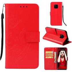 Embossing Butterfly Flower Leather Wallet Case for Huawei Mate 20 Pro - Red