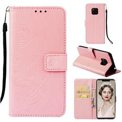 Embossing Butterfly Flower Leather Wallet Case for Huawei Mate 20 Pro - Pink