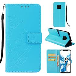 Embossing Butterfly Flower Leather Wallet Case for Huawei Mate 20 Pro - Blue