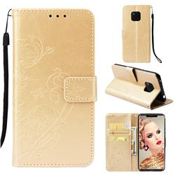 Embossing Butterfly Flower Leather Wallet Case for Huawei Mate 20 Pro - Champagne