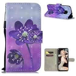 Purple Flower 3D Painted Leather Wallet Phone Case for Huawei Mate 20 Pro