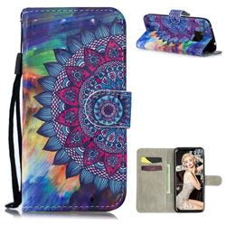 Oil Painting Mandala 3D Painted Leather Wallet Phone Case for Huawei Mate 20 Pro